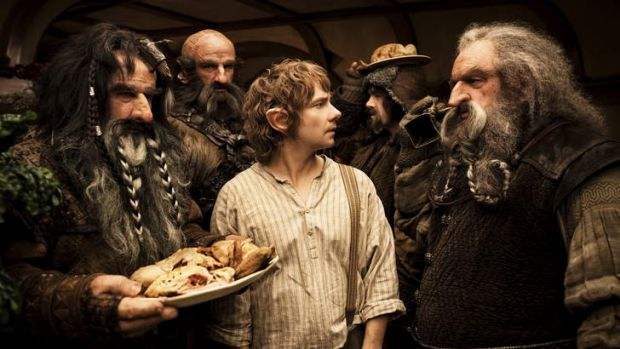 Martin Freeman (centre) stars as the diminutive Bilbo Baggins in <i>The Hobbit: An Unexpected Journey</i>.