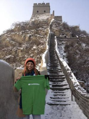 Bryden Rich with her Like Canberra t-shirt at the Great Wall.
