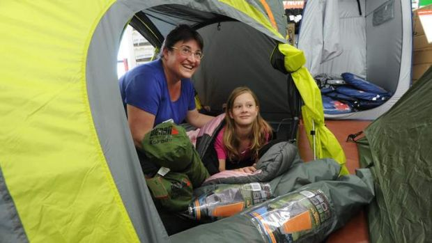Preparing for a camping trip to Tasmania early in January at Anaconda in Fyshwick are Melissa Leggett of Duffy with ...