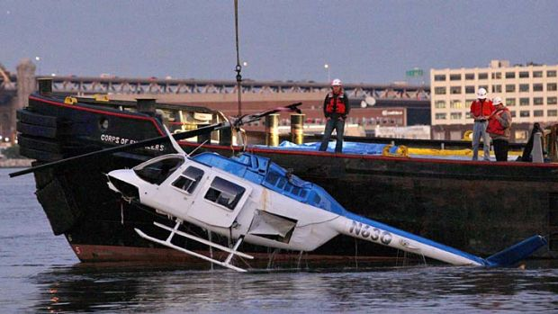 The scene of the crash in New York's East River.