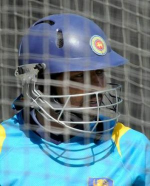 Sri Lanka's Tillakaratne Dilshan in the nets for practice at the MCG.