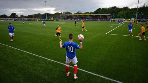 Low key: Barrie McKay of Rangers prepares to throw the ball in during the club's clash with Annan Athletic.