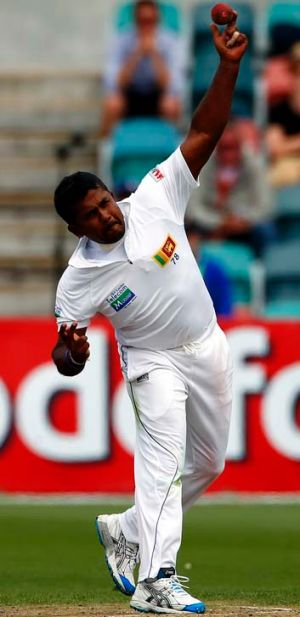 Lethal left arm: Rangana Herath expects the pitch to turn late in the Test.