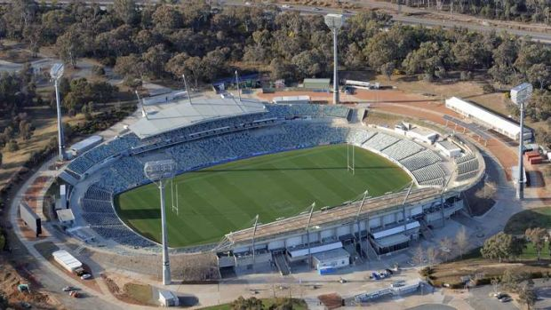 Aerial shot of the Canberra Stadium at Bruce.