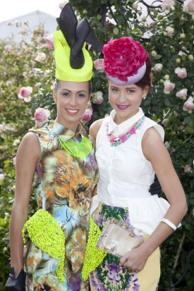 Winner Amy Robson and finalist Sarah Bremner at the launch of the Myer Fashions on the Field enclosure.
