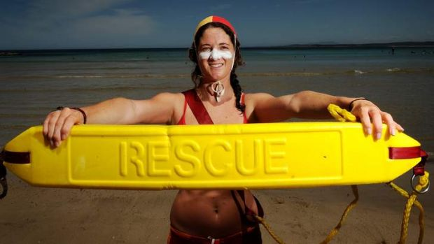 Lifesaver Jaykie Bull, 18, at  Broulee Beach. Last year Jaykie saved two people from the surf and received an award for ...