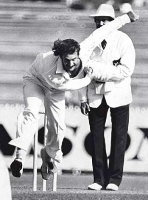 Last ball: Dennis Lillee entered MCG lore when he bowled Viv Richards in 1981.