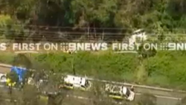 A screenshot of footage taken from the Channel 9 helicopter.