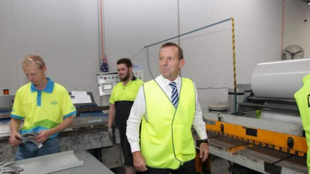 Opposition Leader Tony Abbott visits a building supplies business in Canberra.