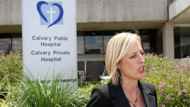 Chief Minister Katy Gallagher at Calvary Hospital.