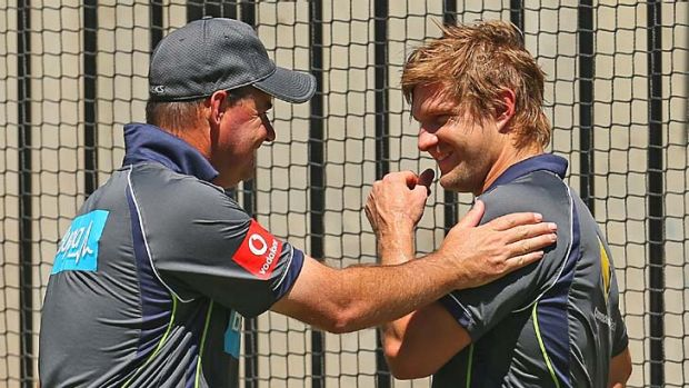 You can do it ... Mickey Arthur and Shane Watson at the MCG.