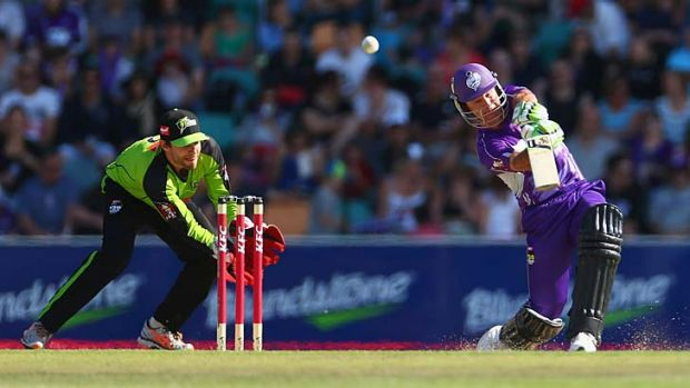 Ricky Ponting plays a lofted drive during the Big Bash League match against the Sydney Thunder.