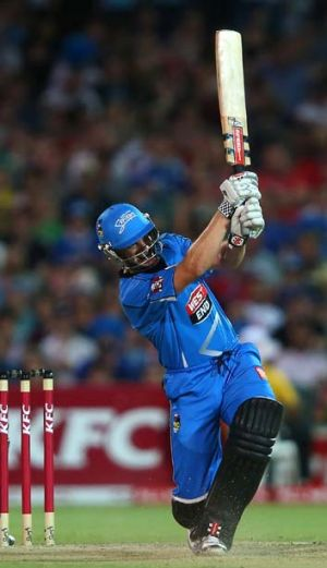 Michael Klinger hits out during his knock of 53.