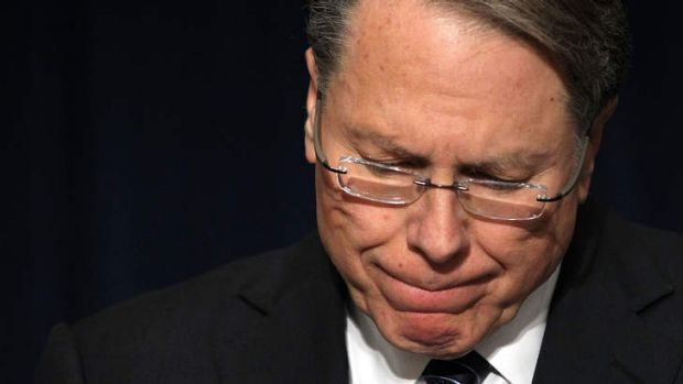 "Wayne LaPierre ... says plans for new legislation for greater gun control are ""phony""."