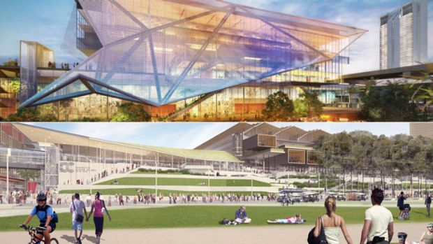 Exhibition Centre: the Multiplex proposal, top, and the Lend Lease proposal, below.