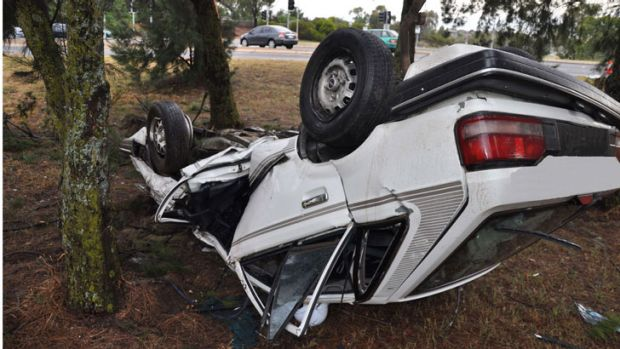 A young woman was lucky to escape serious injuries when she lost control of her car on Coulter Drive in Florey at 5.50am.
