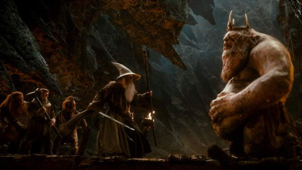 A screen shot from <i>The Hobbit: An Unexpected Journey</i>.