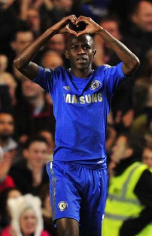 Chelsea's Brazilian midfielder Ramires celebrates after scoring the team's fifth goal in its 8-0 demolition of Aston Villa.