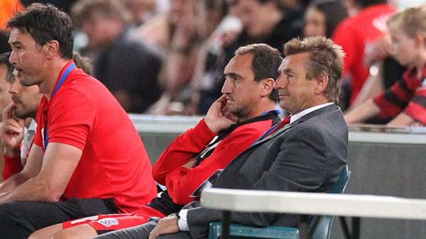 Adelaide coach John Kosmina watches the game against Western Sydney Wanderers at Parramatta Stadium.