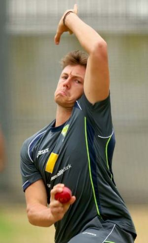 James Pattinson bowls during an Australian training session at the MCG on Monday.