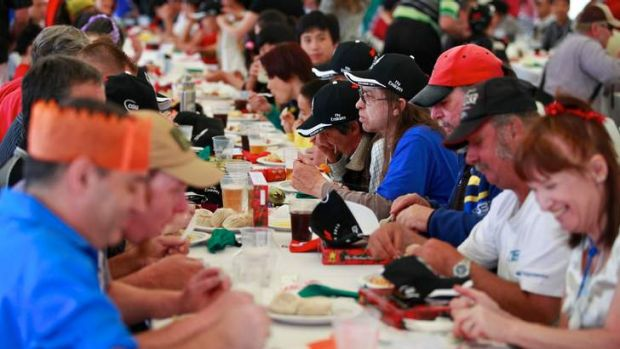 Annual feast ... organisers of the Collingwood Christmas Day lunch prepared to feed about 350 homeless and disadvantaged ...