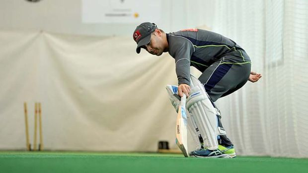 Michael Clarke has a fitness test in the nets.