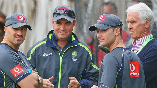 Physiotherapist Alex Kontouris, coach Mickey Arthur, Michael Clarke and chairman of selectors John Inverarity watch the ...