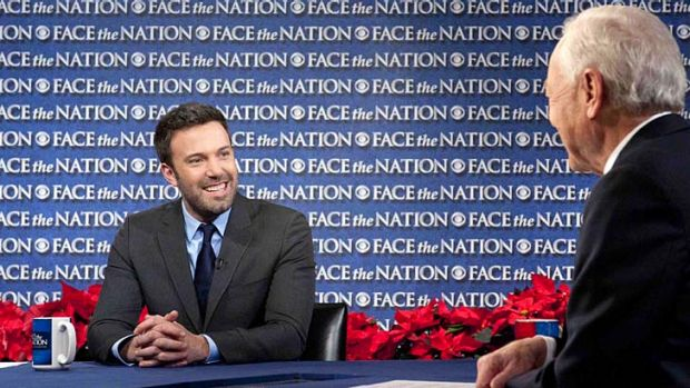 Ben Affleck with Bob Schieffer on <i>Face the Nation</i> in Washington.