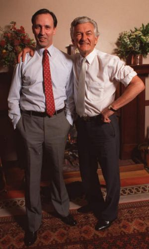 The rivalry between Paul Keating, left, and Bob Hawke has continued long past their time in government.