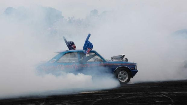 The Summernats burnout competition in action.