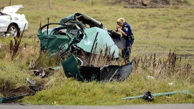 Crash scene … a Rural Fire Service volunteer died instantly in a head-on collision at Marsden Park on Boxing Day.
