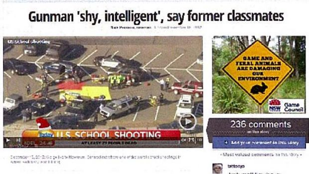 Side by side… the ad as it appeared next to the Sandy Hook coverage.