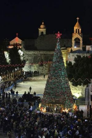 A general view of Manger Square, outside the Church of the Nativity in Bethlehem.