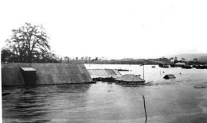 DISASTER: The 1922 flood after the river broke its banks. The roof of the Elmsall Inn can be seen just above the water ...