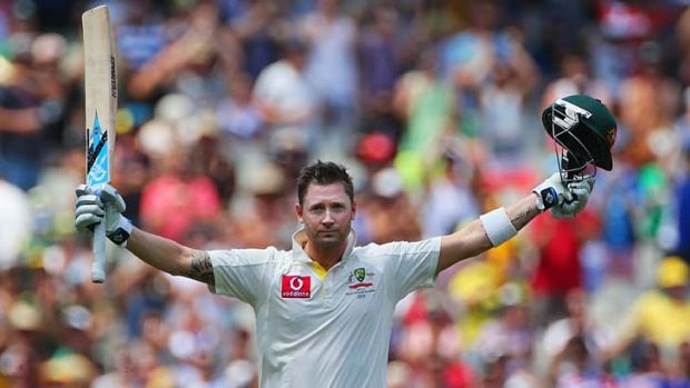 Validating what is said of him … Michael Clarke acknowledges the applause for his century.
