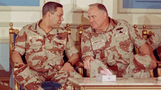 General Colin Powell, left, with General  H.  Norman Schwarzkopf in Saudi Arabia in February 1991.