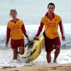 Lifeguards at Malua Bay, Casidhe Rutter and Bernard Robben, on the job.