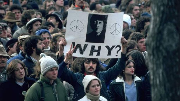 The aftermath of John Lennon's shooting.
