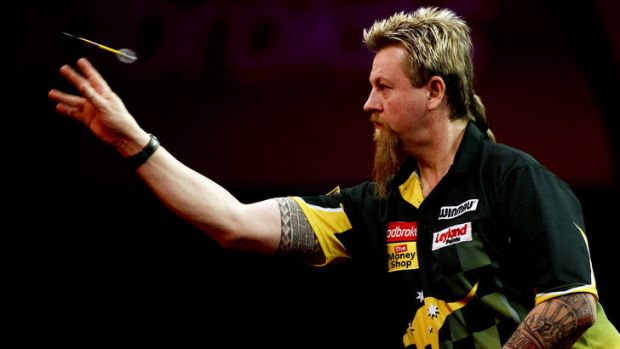 Top shot: Simon Whitlock surges into the quarter-finals of the world championships.