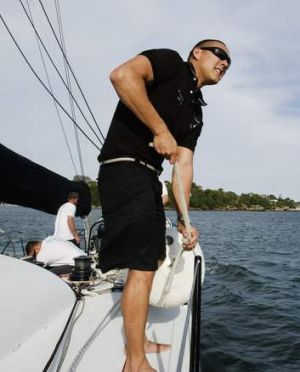 Geoff Huegill on board the Investec Loyal.