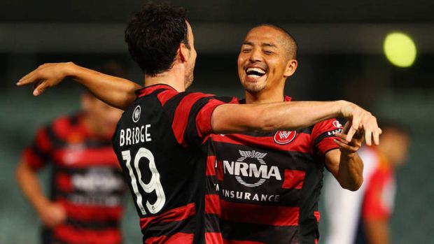 Happy Wanderers: Striker Mark Bridge (left) and Shinji Ono will be refreshed for Western Sydney's clash with Melbourne ...