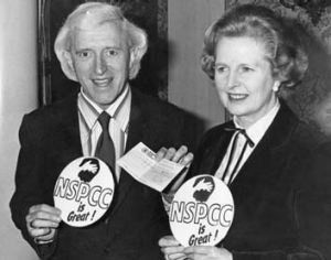 Close friends ... Jimmy Savile and Margaret Thatcher at a fund-raiser for the National Society for the Prevention of ...