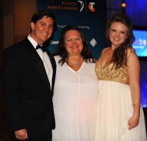 Family feud ... Gina Rinehart with son John and daughter Ginia.