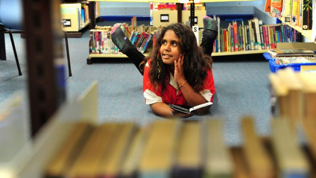 Yulcaila Hoolihan-Mongta, 11, of Forrest Primary School in Canberra, participates in the Indigenous Reading Project, ...