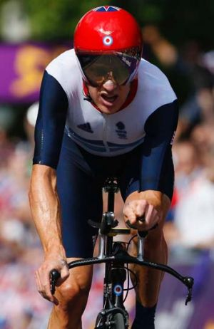 Bradley Wiggins rides in the men's cycling individual time trial at the London 2012 Olympics on August 1.