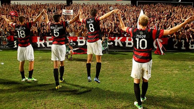 The Western Sydney Wanderers celebrate after defeating Adelaide United at Parramatta Stadium on December 21.