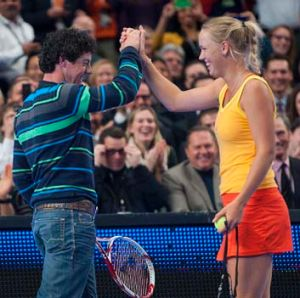 Rory McIlroy and Caroline Wozniacki at Madison Square Garden in New York in  March this year.