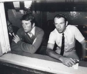Taking a breather ... teammates Ian Chappell and Doug Walters watch the rain tumble down at the SCG in 1971.