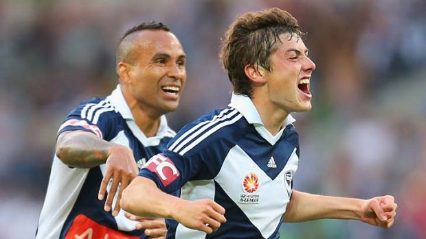 Joy ... Marco Rojas with Archie Thompson.