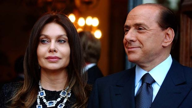 Former Italian prime minister Silvio Berlusconi with his then wife, Veronica Lario, at the Villa Madama residence in ...